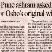 Pune Ashram asked for Osho's Original Will