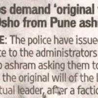 Cops demand 'original will' of Osho from Pune ashram